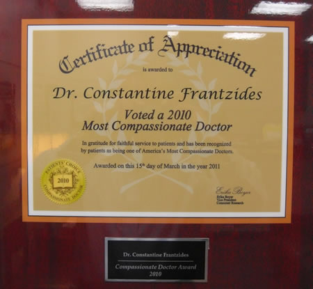 Dr. Frantzides Diplomas and Certificates